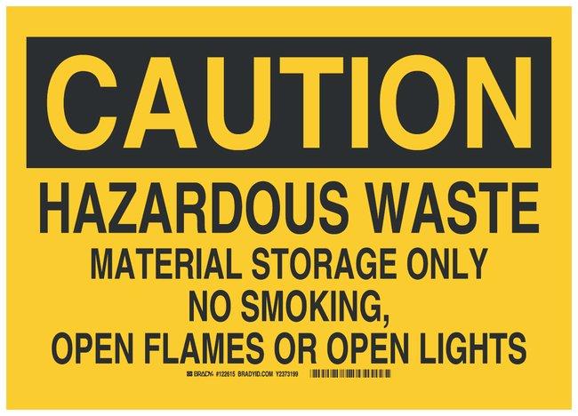 Brady Polyester Danger Sign: HAZARDOUS WASTE MATERIAL STORAGE ONLY NO SMOKING,