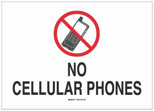 Brady Fiberglass Prohibited Activity Sign: NO CELLUAR PHONES:Gloves, Glasses