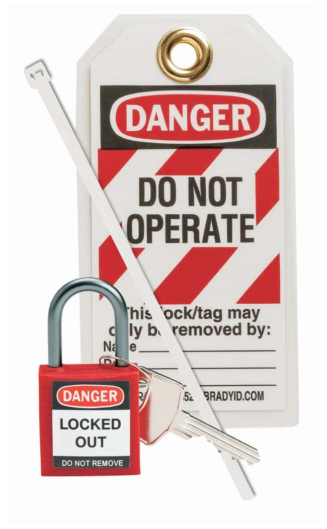 Brady Compact Safety Padlock Kit Red:Gloves, Glasses and Safety