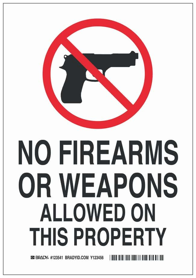 Brady Aluminum Prohibited Activity Sign: NO FIREARMS OR WEAPONS ALLOWED