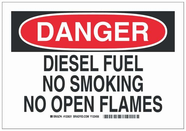 Brady Polyester No Smoking Sign: DIESEL FUEL NO SMOKING NO OPEN FLAMES:Gloves,