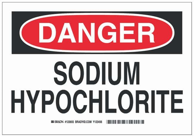 Brady Aluminum Danger Sign: SODIUM HYPOCHLORITE Black/red on white; Non-adhesive;