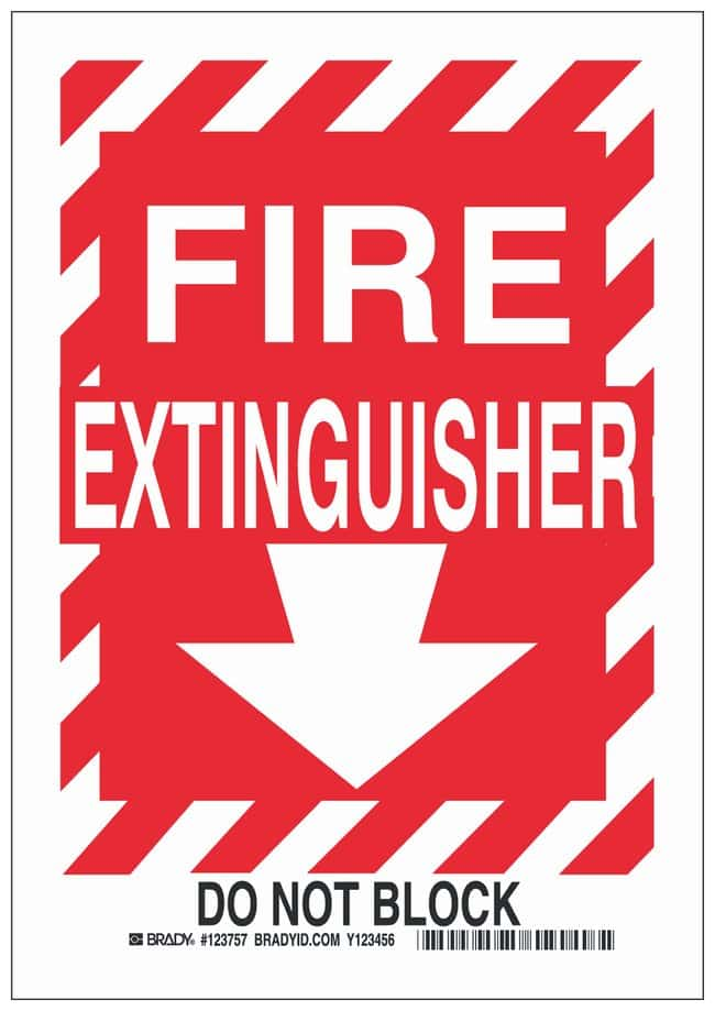 Brady Polyester Fire Extinguisher Sign: FIRE EXTINGUISHER DO NOT BLOCK:Gloves,