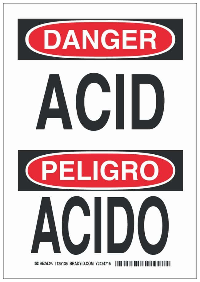 Brady Aluminum Danger/ Peligro Sign: ACID/ ACIDO:Gloves, Glasses and Safety:Facility