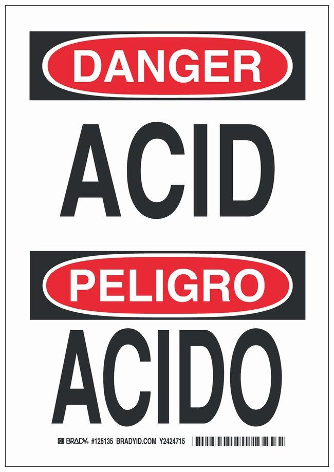 Brady Polyester Danger/ Peligro Sign: ACID/ ACIDO Black/red on white; Cold