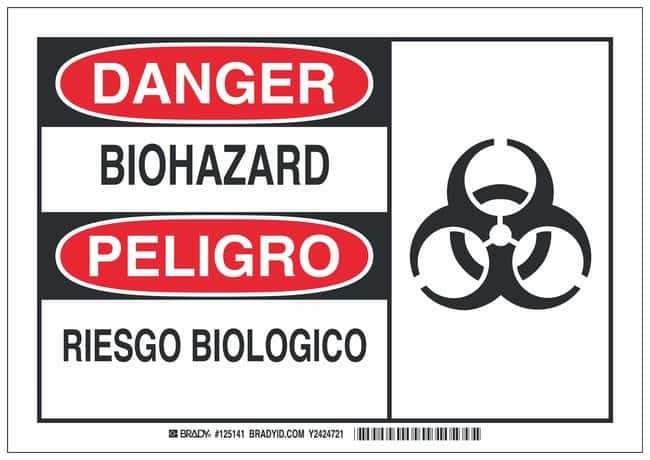 Brady Polyester Danger/ Peligro Sign: BIO HAZARD/ RIESGO BIOLOGICO Black/red