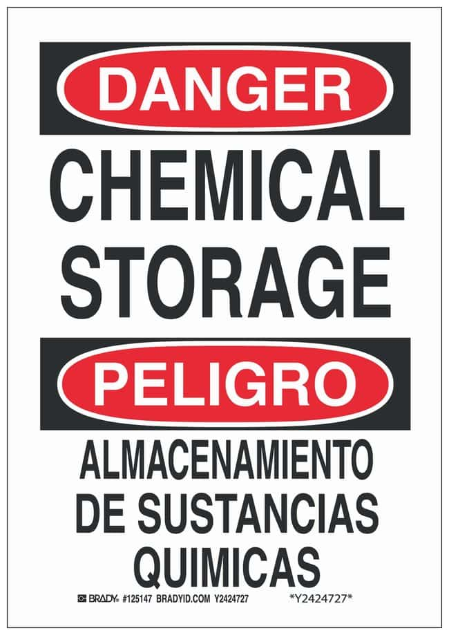 Brady Polystyrene Danger/ Peligro Sign: CHEMICAL STORAGE/ ALMACENAMIENTO