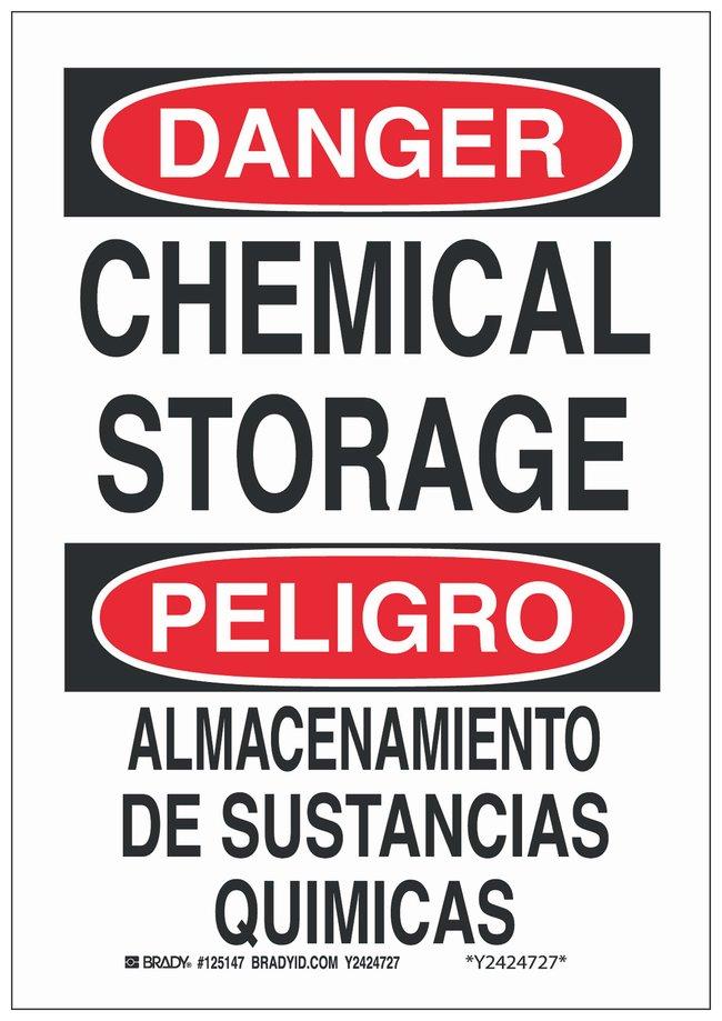 Brady Polyester Danger/ Peligro Sign: CHEMICAL STORAGE/ ALMACENAMIENTO