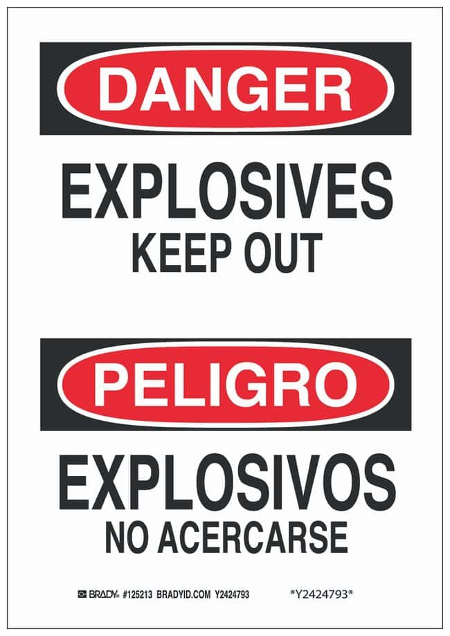 Brady Polyester Adhesive Warning Sign: EXPLOSIVES KEEP OUT/EXPLOSIVOS NO