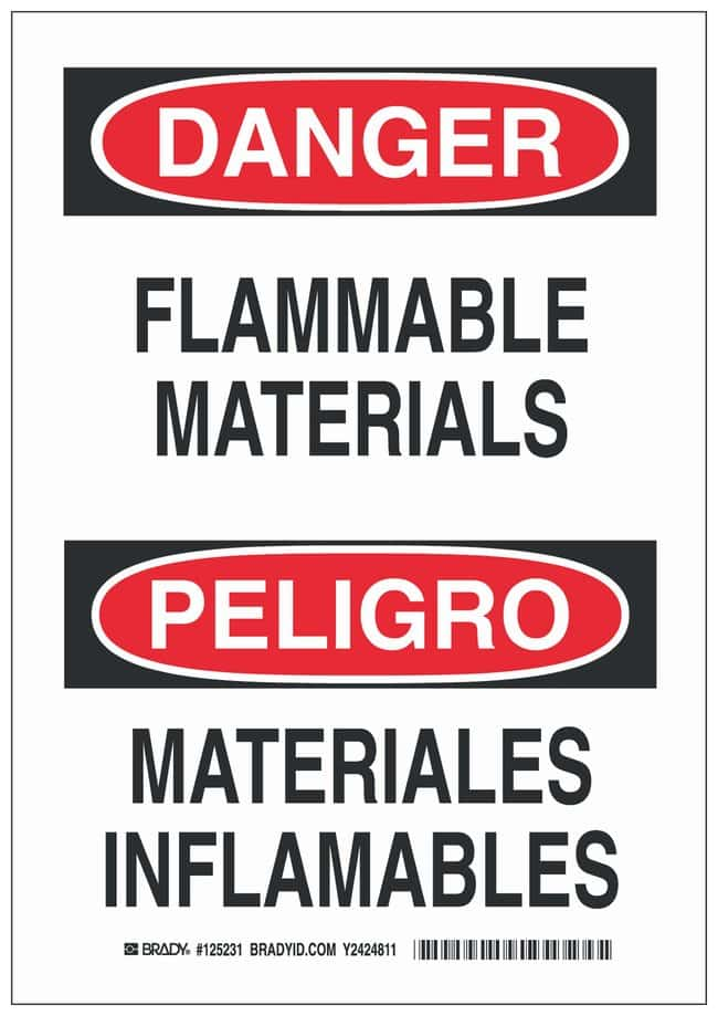 Brady Polystyrene Danger Sign: FLAMMABLE MATERIALS/MATERIALES INFLAMABLES