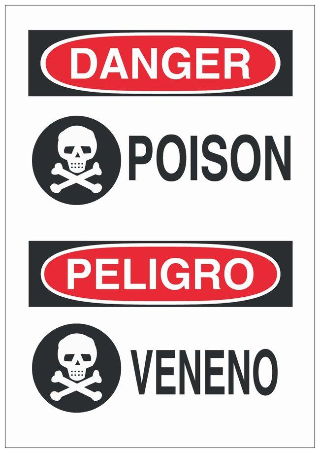 Brady Polyester Danger/ Peligro Sign: POISON/ VENENO Black/red on white;