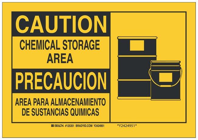 Brady Aluminum Caution Sign: CHEMICAL STORAGE AREA/ AREA PARA ALMACENAMIENTO