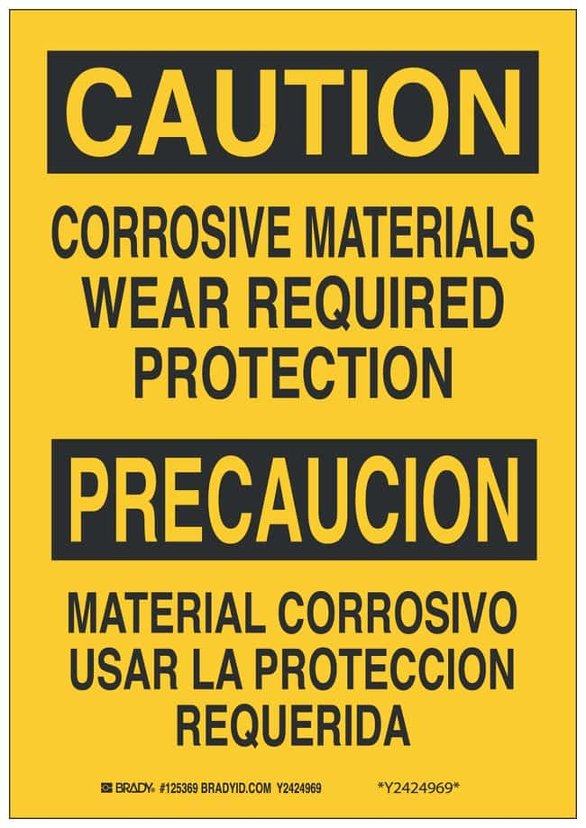 Brady Polystyrene Caution/ Precaucion Sign: CORROSIVE MATERIALS WEAR REQUIRED