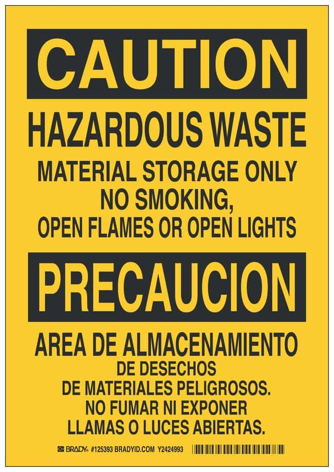 Brady Polystyrene Caution/ Precaucion Sign: HAZARDOUS WASTE MATERIAL STORAGE