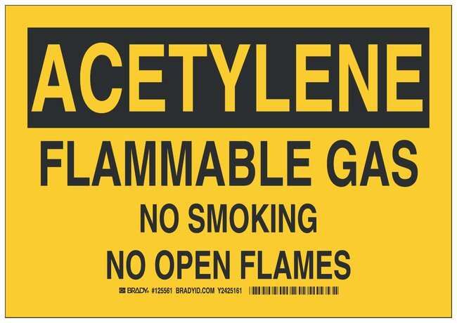 Brady Aluminum Acetylene Sign: FLAMMABLE GAS NO SMOKING NO OPEN FLAMES:Gloves,