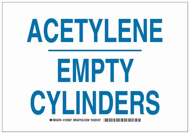 Brady Aluminum Warning Sign: ACETYLENE EMPTY CYLINDERS Blue on white; Non-adhesive;