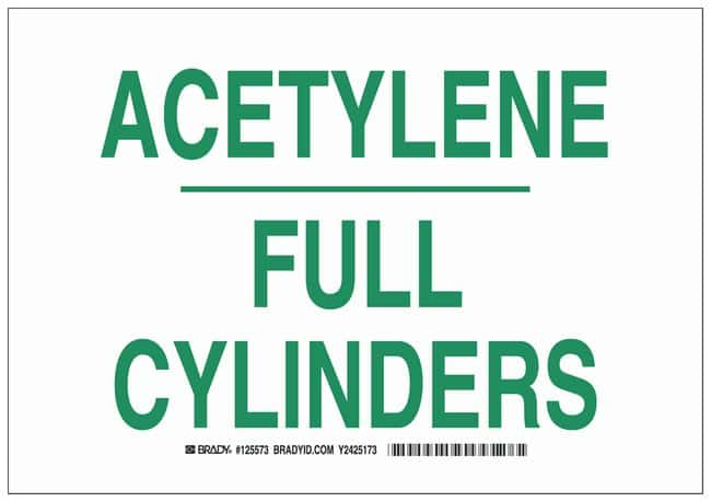 Brady Polystyrene Warning Sign: ACETYLENE FULL CYLINDERS Green on white;