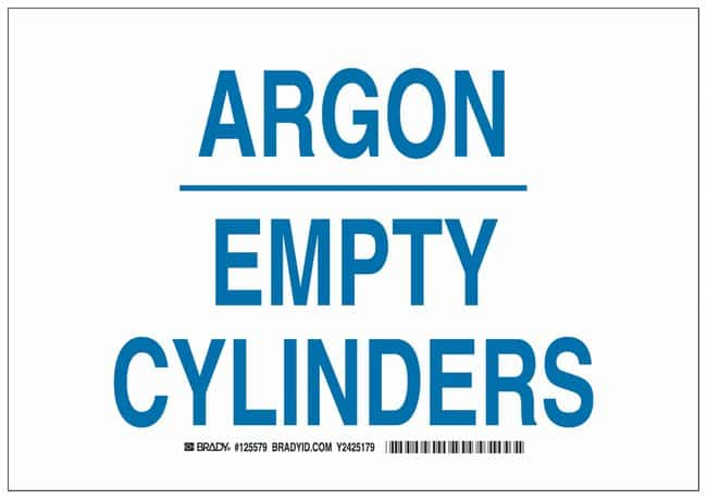 Brady Polyester Warning Sign: ARGON EMPTY CYLINDERS Blue on white; Cold