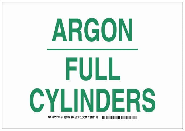 Brady Polystyrene Warning Sign: ARGON FULL CYLINDERS:Gloves, Glasses and