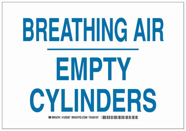 Brady Aluminum Warning Sign: BREATHING AIR EMPTY CYLINDERS Blue on white;