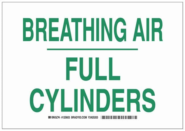 Brady Polystyrene Warning Sign: BREATHING AIR FULL CYLINDERS Green on white;