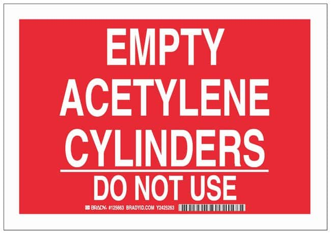 Brady Polystyrene Warning Sign: EMPTY ACETYLENE CYLINDERS DO NOT USE White