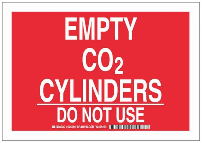 Brady Aluminum Warning Sign: EMPTY CO2 CYLINDERS DO NOT USE White on red;