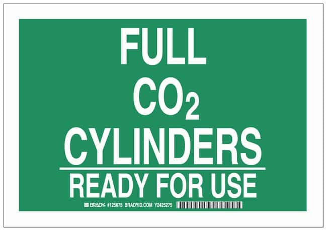 Brady Polyester Warning Sign: FULL CO2 CYLINDERS READY FOR USE White on