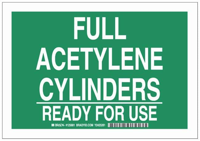 Brady Aluminum Warning Sign: FULL ACETYLENE CYLINDERS READY FOR USE:Gloves,
