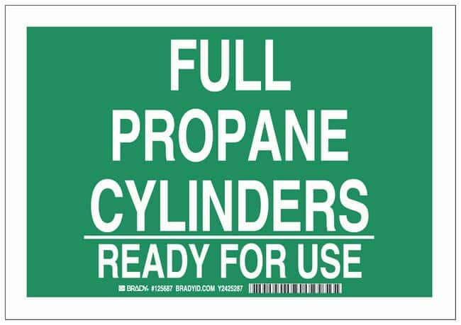 Brady Polystyrene Warning Sign: FULL PROPANE CYLINDERS READY FOR USE White