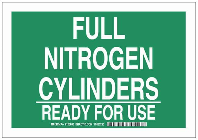 Brady Polyester Warning Sign: FULL NITROGEN CYLINDERS READY FOR USE White