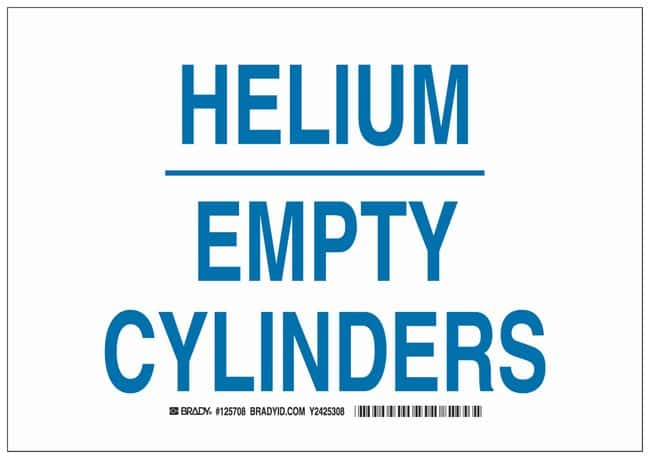 Brady Polystyrene Warning Sign: HELIUM EMPTY CYLINDERS Blue on white; Non-adhesive;
