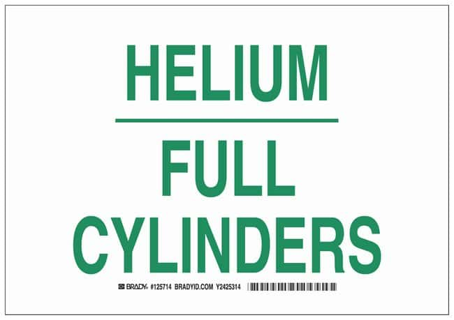 Brady Polyester Warning Sign: HELIUM FULL CYLINDERS Green on white; Cold