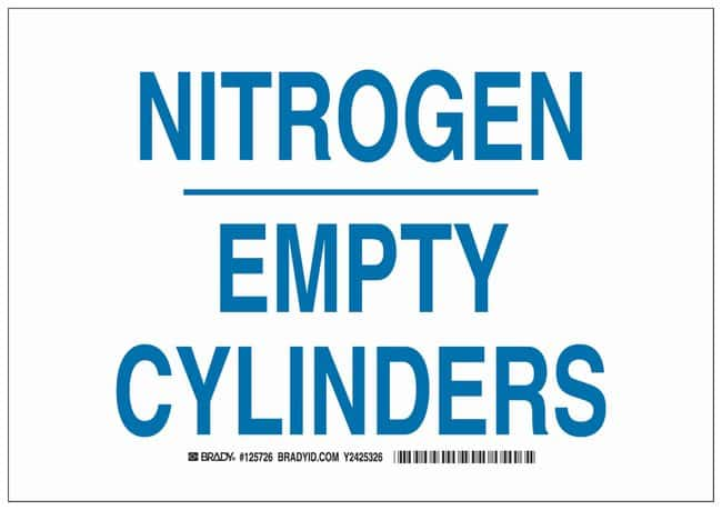 Brady Aluminum Warning Sign: NITROGEN EMPTY CYLINDERS Blue on white; Non-adhesive;