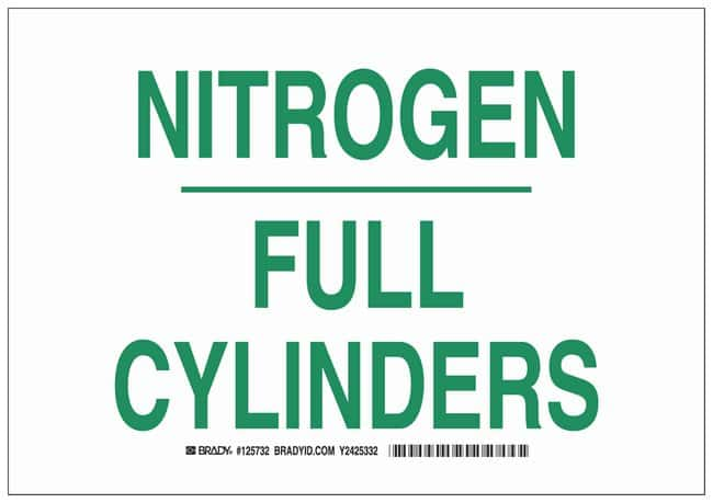 Brady Polystyrene Warning Sign: NITROGEN FULL CYLINDERS Green on white;