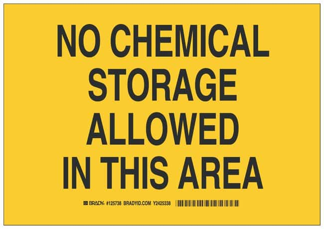 Brady Polystyrene Caution Sign: NO CHEMICAL STORAGE ALLOWED IN THIS AREA:Gloves,