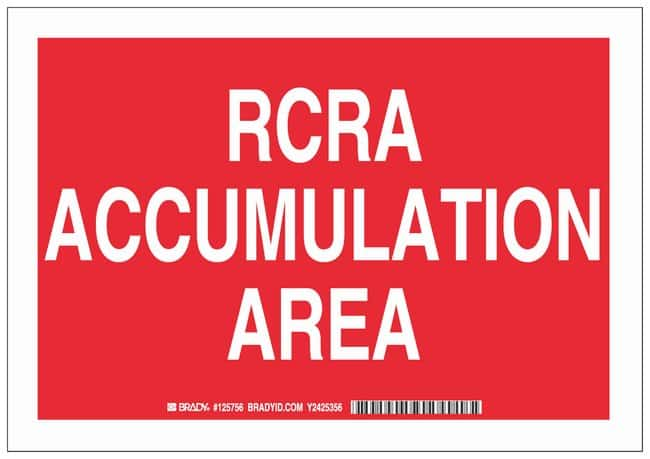Brady Polystyrene Danger Sign: RCRA ACCUMULATION AREA White on red; Non-adhesive;