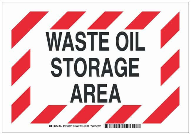 Brady Warning Sign: WASTE OIL STORAGE AREA Black/red on white; 14 in. x