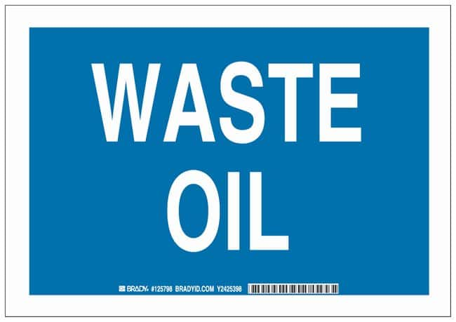 Brady Polyester Adhesive Warning Sign: WASTE OIL:Gloves, Glasses and Safety:Facility