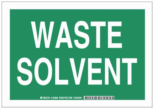 Brady Polystyrene Warning Sign: WASTE SOLVENT White on green; Non-adhesive;