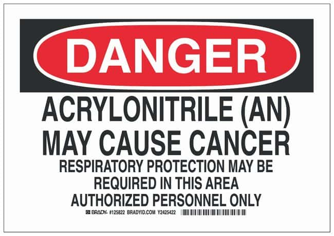 Brady Aluminum Danger Sign: ACRYLONITRILE (AN) MAY CAUSE CANCER RESPIRATORY