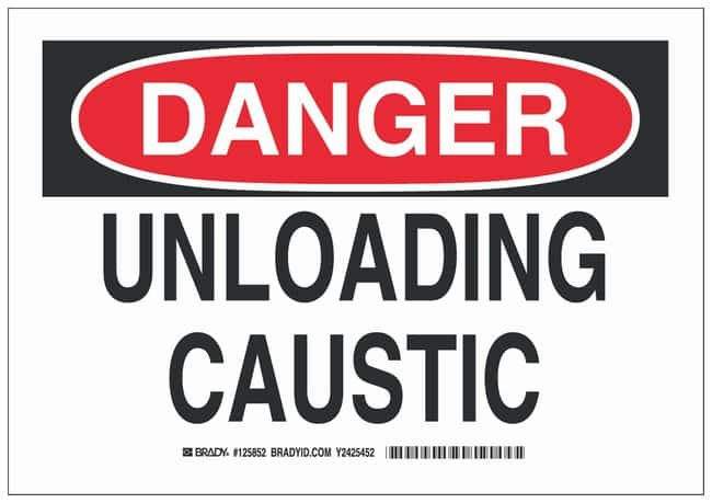 Brady Aluminum Danger Sign: UNLOADING CAUSTIC Black/red on white; Non-adhesive;