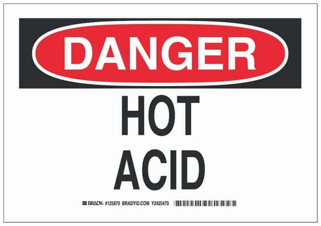 Brady Polystyrene Danger Sign: HOT ACID Black/red on white; Non-adhesive;