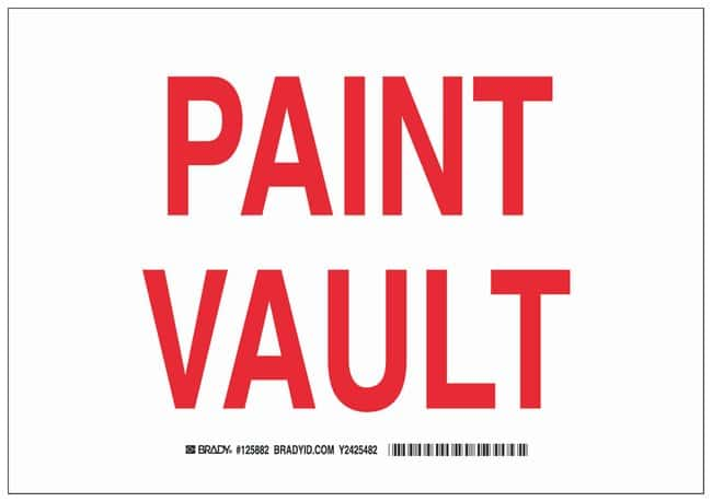 Brady Polystyrene Caution Sign: PAINT VAULT Red on white; Non-adhesive;