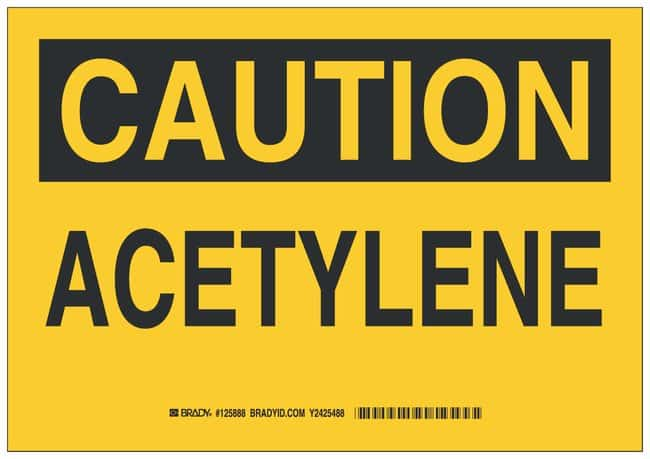 Brady Aluminum Caution Sign: ACETYLENE Black on yellow; Non-adhesive; Corner