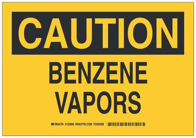Brady Polystyrene Caution Sign: BENZENE VAPORS Black on yellow; Non-adhesive;