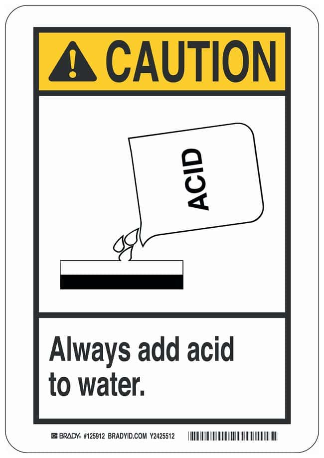 Brady Aluminum Caution Sign: ALWAYS ADD ACID TO WATER. Black/yellow on