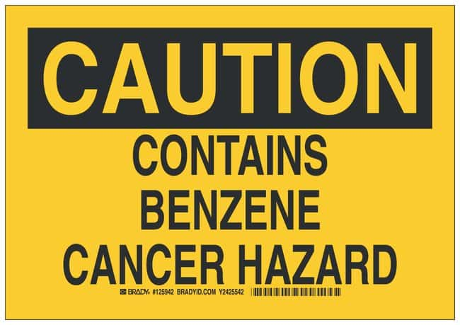 Brady Aluminum Caution Sign: CONTAINS BENZENE CANCER HAZARD Black on yellow;
