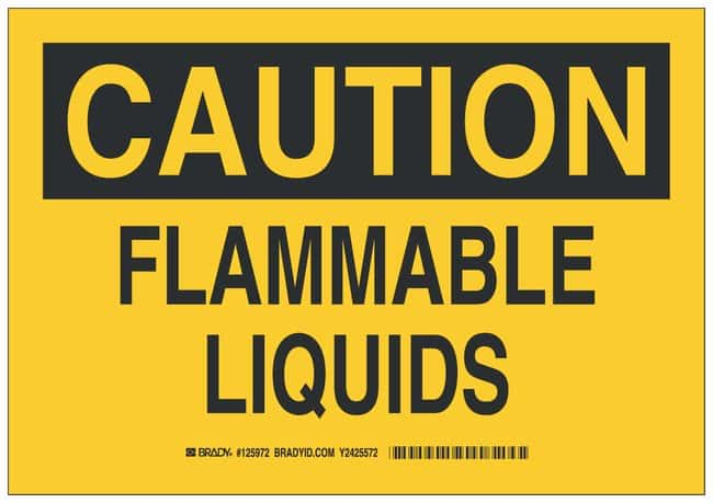 Brady Polyester Adhesive Warning Sign: FLAMMABLE LIQUIDS:Gloves, Glasses
