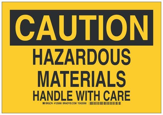 Brady Polystyrene Caution Sign: HAZARDOUS MATERIALS HANDLE WITH CARE Black